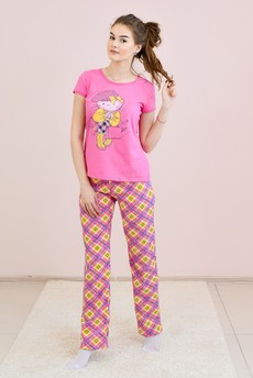 Комплект домашний из 100% хлопка: футболка и брюки FIORITA