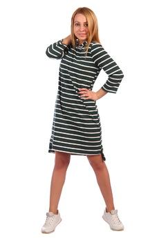 Зеленое платье в полоску с капюшоном ElenaTex